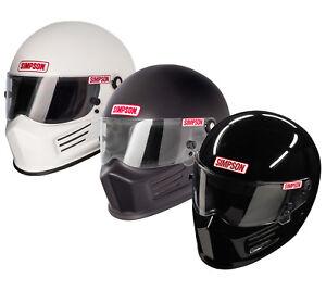 84b26f32 Simpson Bandit SA2015 White or Black Helmet/Lid Pre Drilled Holes ...