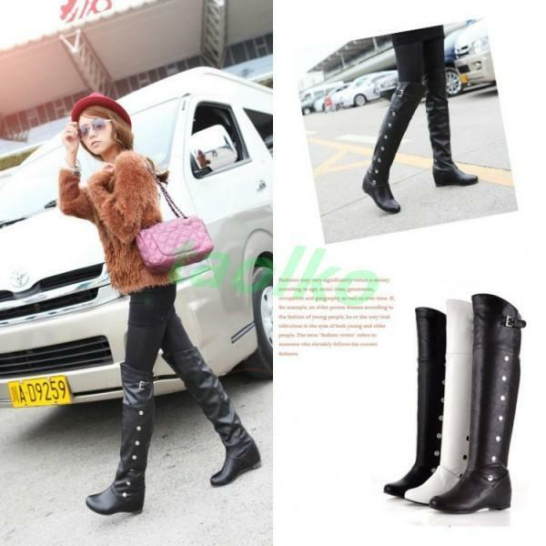 Vintage Women' Casual Knee High Boots Buckle Rivet Knight Pull On Riding shoes