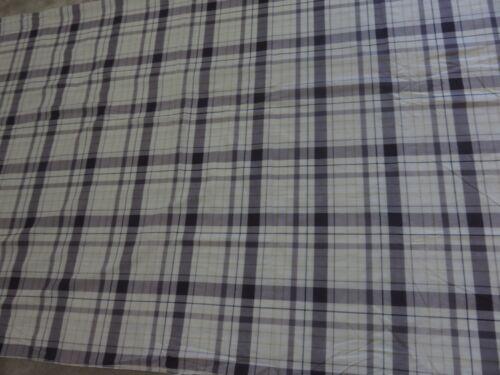 Cream purple plum check tartan crafts sewing remnant fabric piece 130x95cm