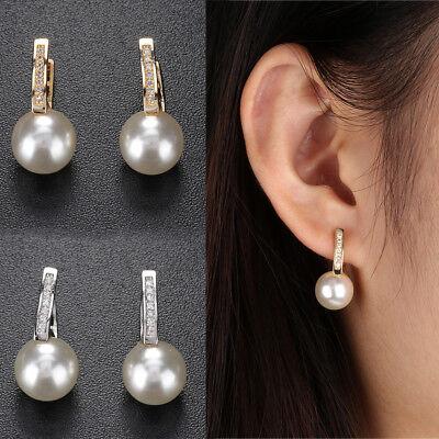 glänzende schmuck neue frauen versilbert ohrringe ohr hengst zwei perlen