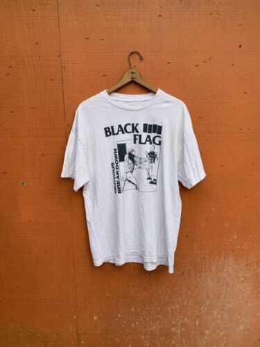 vintage black flag t shirt White Black Nervous Bre