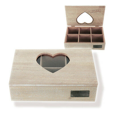 Tea box Wooden box for Tea bag with Glass window Heart-Shaped Wood brown