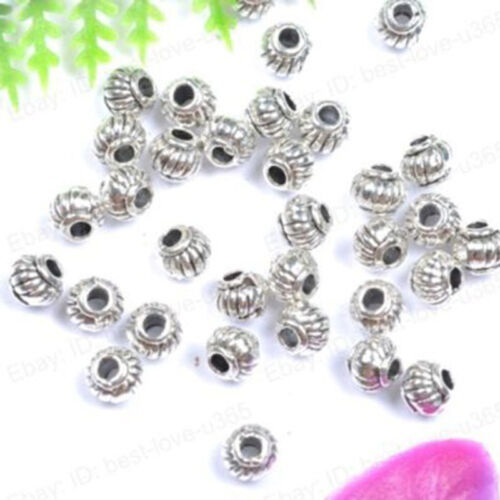 100Pcs//Lot Retro Zinc Alloy Antique Silver Beads Spacer DIY Bracelets Findings