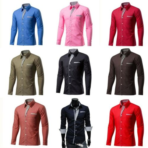 UK Men Lapel  Shirts Formal Business Casual Slim Long Sleeve Shirt Plus size HA