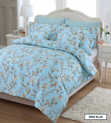 great knot gyptische baumwolle blumen vogel grau blau. Black Bedroom Furniture Sets. Home Design Ideas