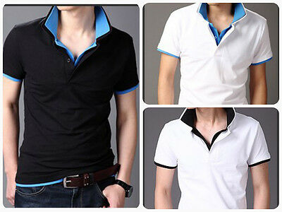 New Mens Double Collar Polos Top Pullover Shirt Short Sleeve Summer Fashion DC11