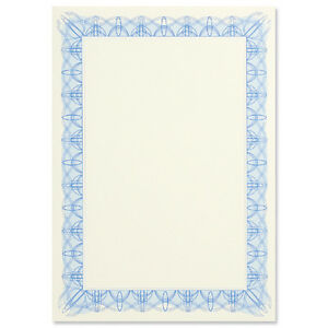 60 quality blank certificate paper foil seals a4 90g blue border