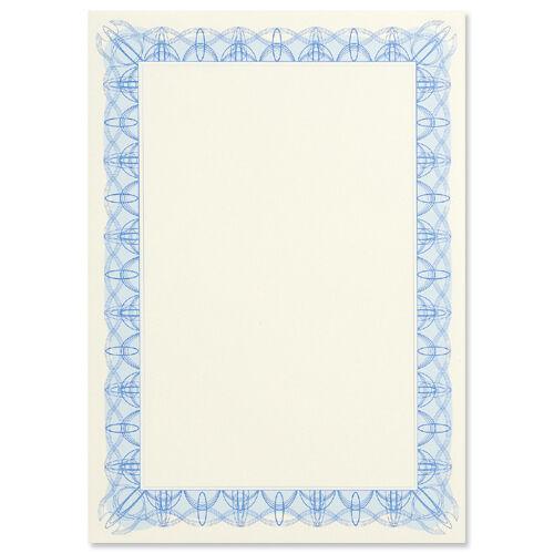 60 Quality Blank Certificate Paper Foil Seals A4 90g Blue Border ...