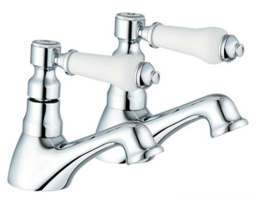 Hot /& Cold Bath Taps New Item 1//4 Turn Antique Style Chrome Bathroom Antique 3