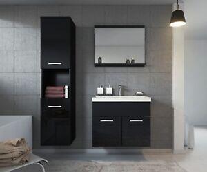 Image Is Loading Bathroom Furniture Set Montreal Black 60cm Basin Cabinet