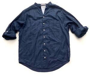 Nwt-Caribbean-Blue-Linen-Blend-Tonal-Stripe-Long-Sleeve-Mandarin-Collar-Shirt