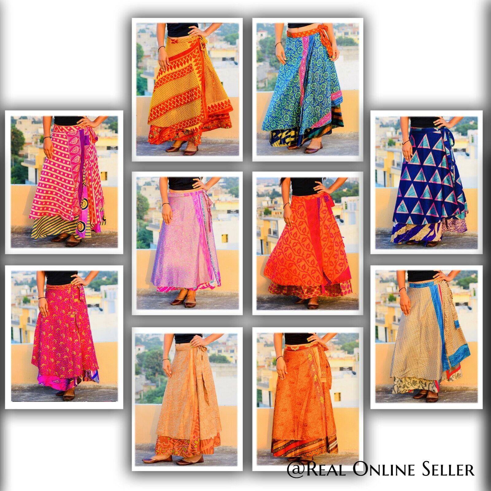10 Stück Mix Rock Menge Vintage Indian Seide Sari Magic Wickel Röcke Beachwear