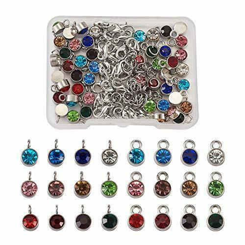 Kissitty 48pcs//Box Mixed Color Crystal Birthstone Charms Beads Pendants with #29