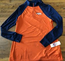 de5f5551185 Denver Broncos 1 4 Zip Pullover Women s 2XL Orange T3 Cool NFL Team Apparel  NWT