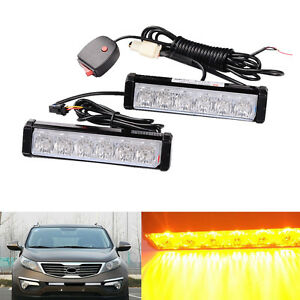 kit led yellow warning emergency beacon strobe flash light bar car. Black Bedroom Furniture Sets. Home Design Ideas