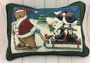 Christmas-Throw-Pillow-Coco-Dowley-Santa-Bear-Pulling-Sled-w-Penguins-Kohl-039-s