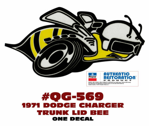 REFLECTIVE DECAL ONE GE-QG-569 1971 DODGE CHARGER SUPER BEE TRUNK BEE