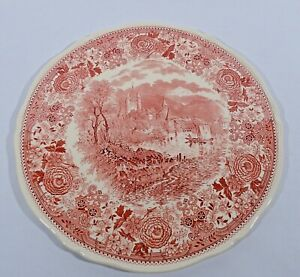Villeroy-Boch-Burgenland-Rot-Tortenplatte-32-cm-V-amp-B-Mettlach-Keramik-alte-Serie