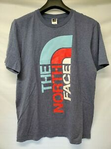The-North-Face-Logo-T-Shirt-Gray-Red-White-Light-Blue-Mens-Size-Large