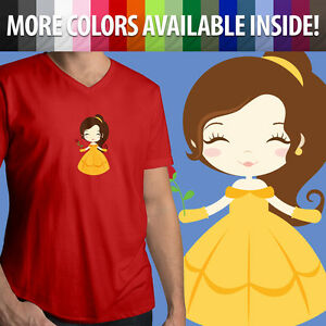 Disney-Beauty-and-the-Beast-Princess-Belle-Rose-Mens-Unisex-Tee-V-Neck-T-Shirt