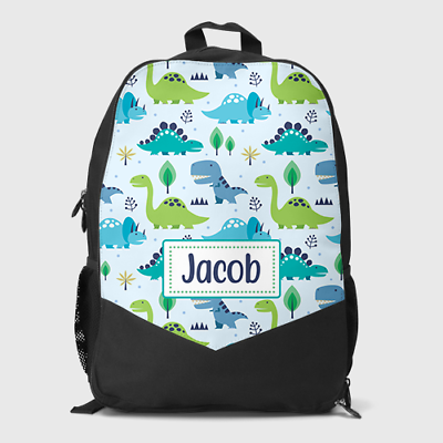 Childrens School Bag Boys Kids Backpack Personalised Dino Dinosaur Footprints