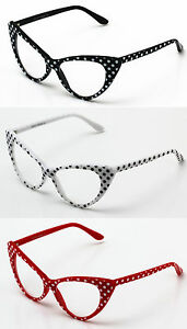 e7b3852b6c74c Retro Vintage Style Polka Dot Cat Eye Sunglasses Hollywood 50s 60s Clear  Lens Sonnenbrillen