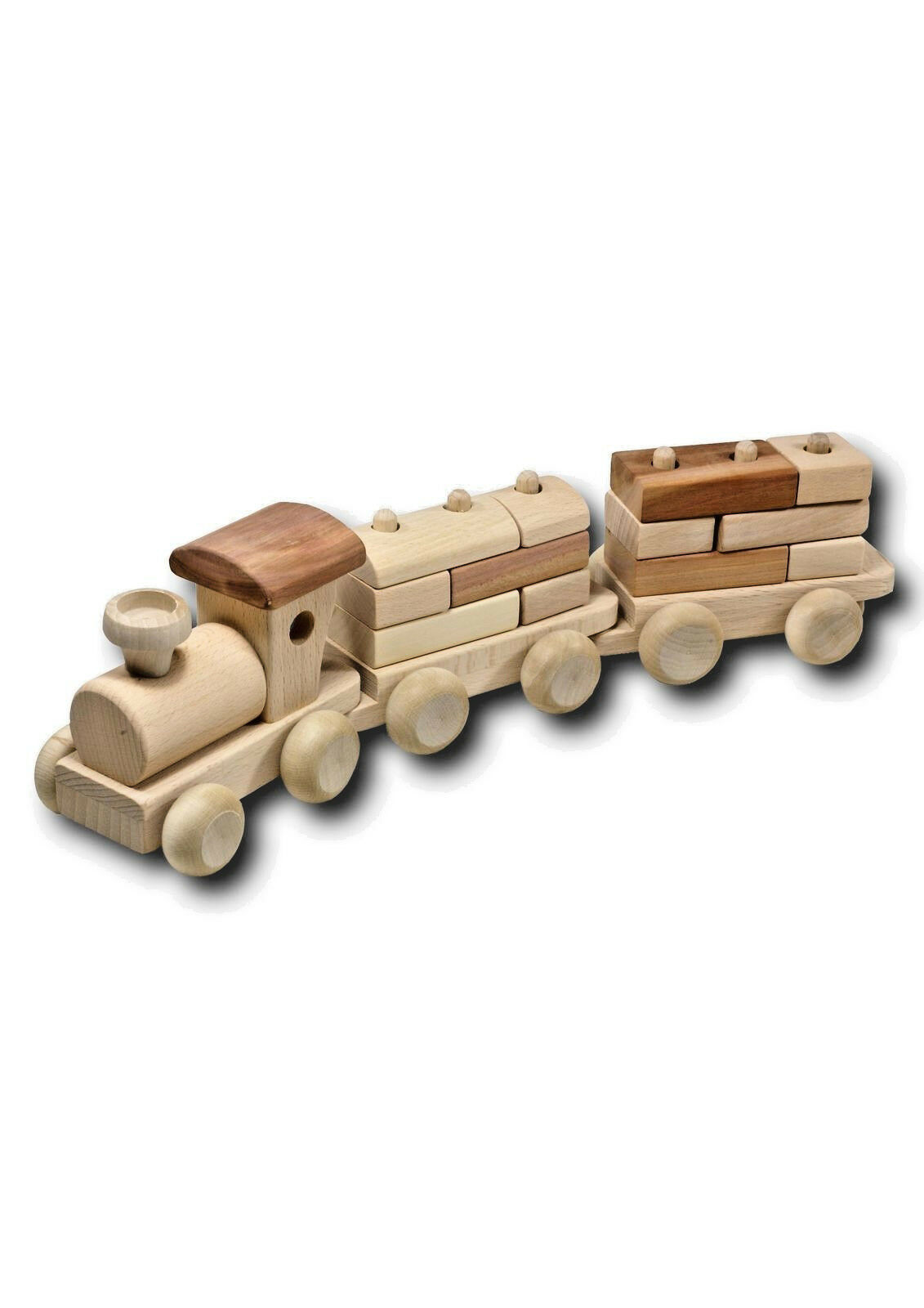 Train 2 Wagons with Bauklötzern of Wood 34 Cm