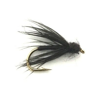 4 x Black Slow Water Caddis Fly Fishing Wet Flies For Trout and Salmon