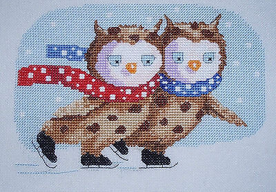 KL117 Skating on Ice Owls Cross Stitch Kit by Genny Haines