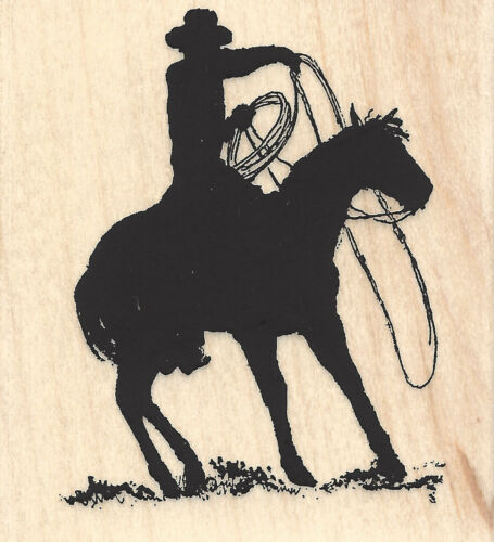 Rodeo Silhouette Cowboy Horse Wood Mounted Rubber Stamp IMPRESSION OBSESSION New
