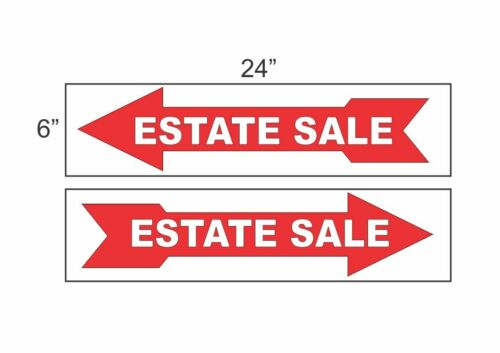 """ESTATE SALE ARROW RED 6/""""x24/"""" Plastic SIGNS Buy 1 Get 1 FREE 2 Sided"""