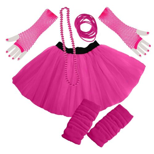 NEON FUN COLOURFUL TUTU SKIRT SET HEN PARTY 80/'S FANCY DRESS PARTY BEADS BANGLES