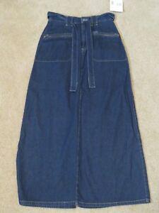 New-Women-039-s-Liz-Claiborne-Lizwear-Long-Blue-Jean-Skirt-w-Belt-Full-Length-Size-4