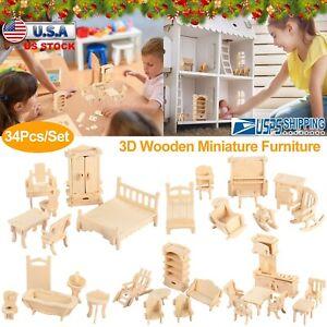 34Pcs / Set Wooden Dollhouse Furniture Miniature 3D Model Puzzles Kids Gift Kits