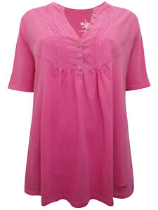 Anthology ladies top blouse t-shirt plus size 20 24 28 30 Pink Pleat Back