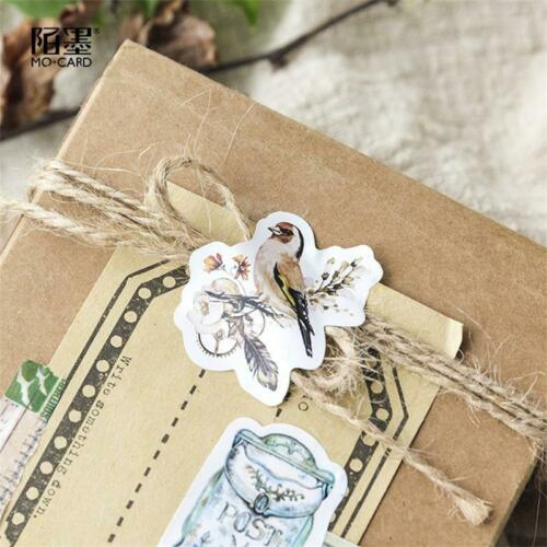 46pcs//box Vintage Flower Animals Stickers Journal Label Diary Seal Diy Sticker