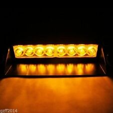 Amber 8 LED Car Dash Strobe Light Flash Emergency Police Warning Safety Lamp 12V