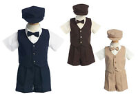Baby Toddler Boys Suit Shorts Outfit Wedding Easter Party 5 Pc Set G815