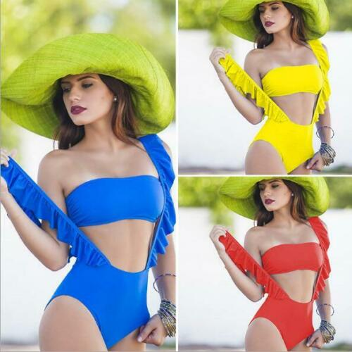 Woman Padded Ruffle Monokini Solid Color Padded strapless+Bikini Swimsuit S-L