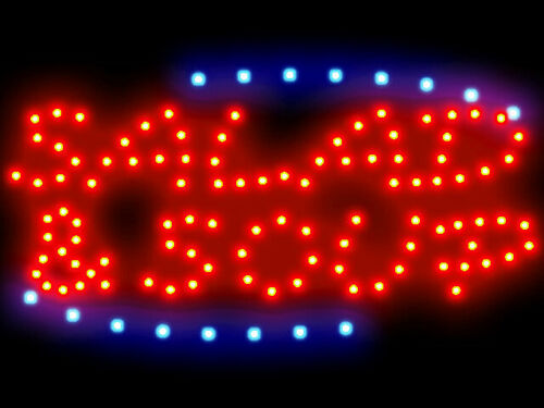 3q0025 Salad /& Soup Cafe Open Led Neon Sign Display Light Sign New