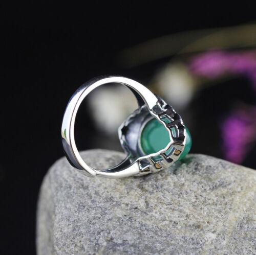 I03 Ring romantisch grüner Achat Markasit Silber 925 größenverstellbar