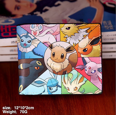 Pokemon Go Eevee Vaporeon Sylveon Coin Purse PU Zippers Wallet Holder Layers
