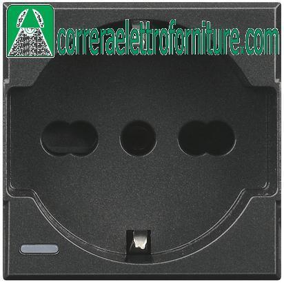 BTICINO AXOLUTE antracite presa schuko P30 bipasso universale HS4140//16