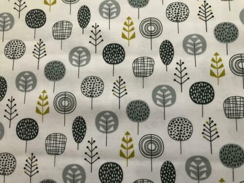 Whites /& Mustard Greys NEW 100/% Cotton Leafy Meadow by Nutex Designs