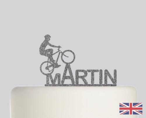 Cyclist Cycle Bike Birthday Personalised Cake topper Acrylic Glitter cake 250