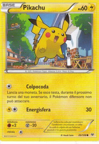 CARTA POKEMON COMUNE 20//108 PIKACHU IN ITALIANO PS 60