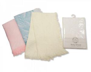 Baby-Newborn-Shawl-Blanket-Pram-Crib-Basket-Girl-Boy-Unisex-Pink-Blue-White-Wrap