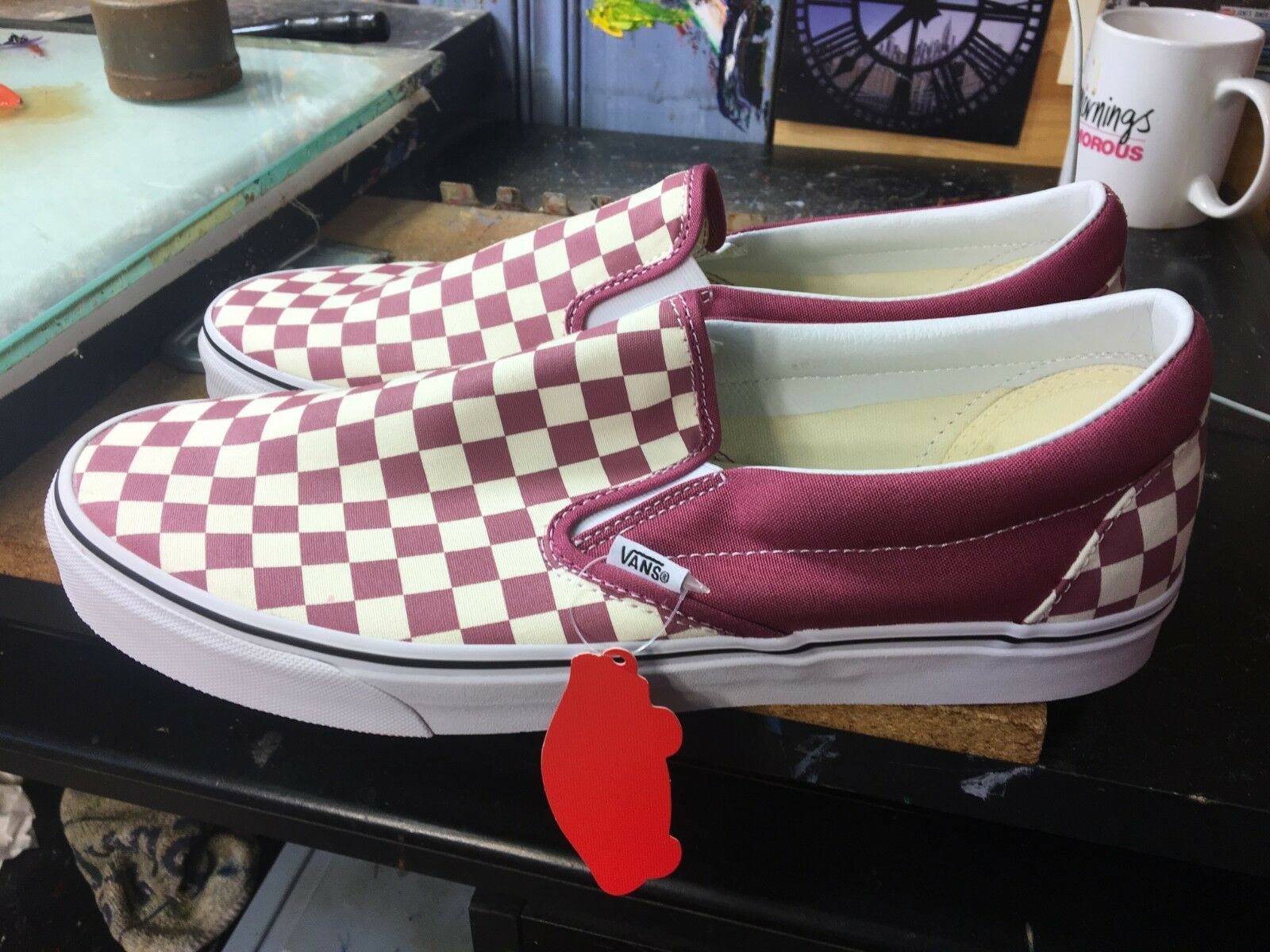 Vans Classic Slip-On (Checkerboard) Dry pink White Size US 10.5 Men VN0A38F7U7A