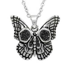 Controse Punk Butterfly Skull Black CZ Stainless Steel Pendant Necklace CN165