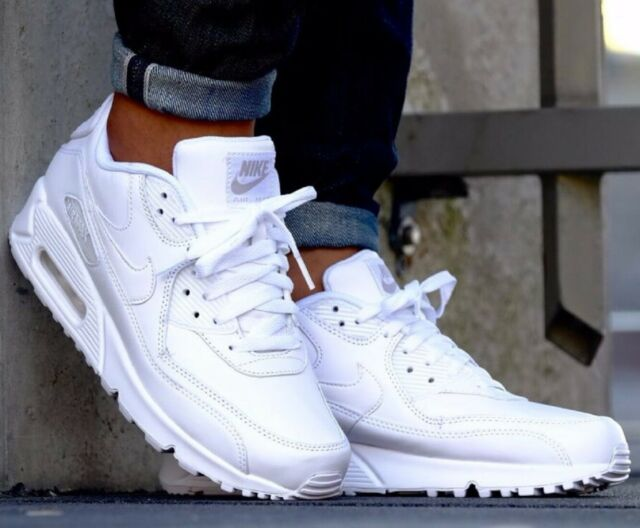 Nike Air Max 90 Essential White Leather Sneakers Men's Lifestyle Shoes